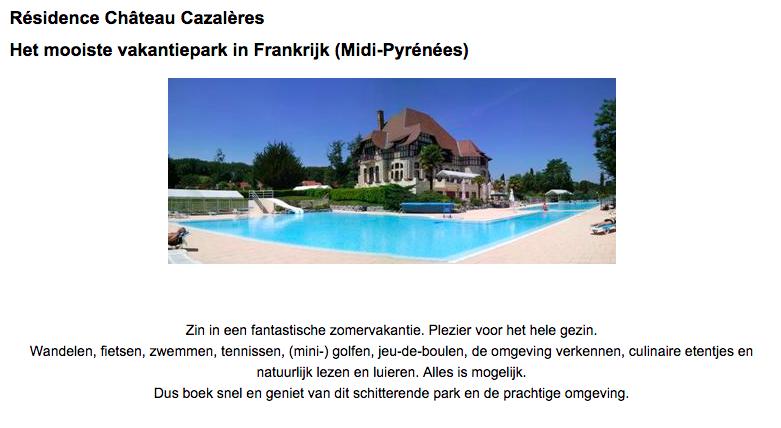 Boek uw vakantie op Chateau Cazaleres